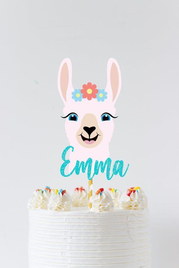 Llama Birthday Personalized Cake Topper Llama Party Decor Llama Birthday Cake Topper