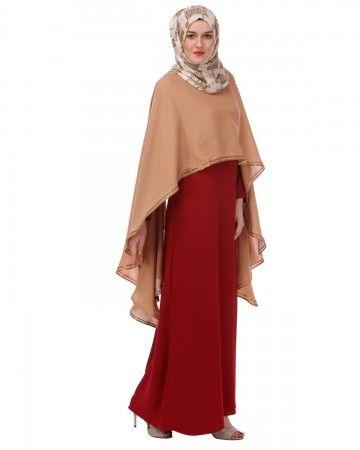 Red and Fawn Dupatta Drape Abaya - Formal Abayas - Abayas