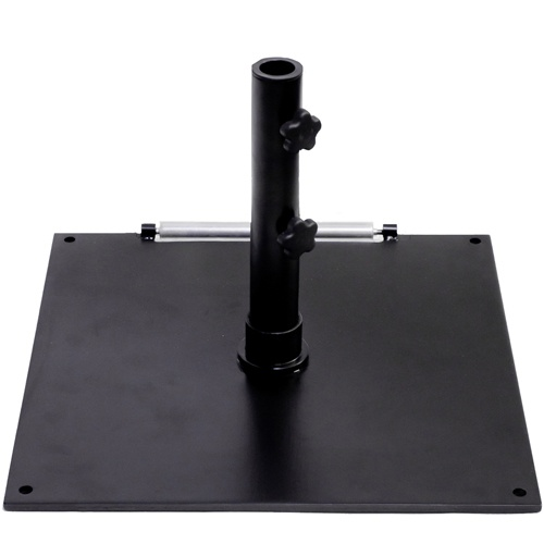 BFM Seating Market Umbrella Base for Stand Alone Use - These BFM Seating market umbrella bases are a necessity for any stand alone outdoor market umbrella. Each square black outdoor umbrella base is constructed of high strength steel and has a total weight of 75 lbs to securely hold your market umbrella in place.  [UB75SQBL]