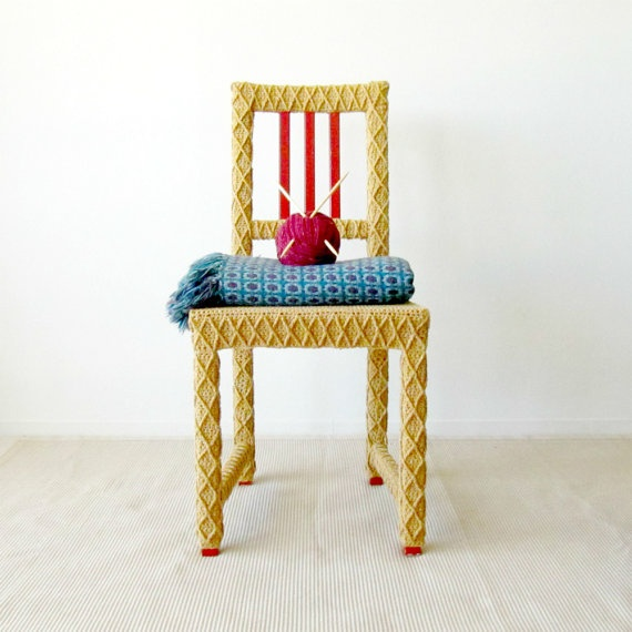 Yellow Accent Chair, Home Office Chair, Upcycled Furniture, Crochet Home Decor, Eco-Friendly Fiber Art by Knits for Life