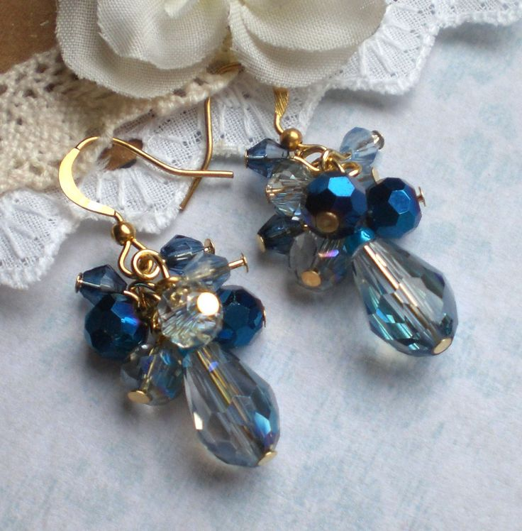 Blue cluster earrings Blue crystal earrings Blue prom earrings Blue bridesmaids earrings Shimmering blue earrings Blue prom cluster earrings by MrsBeadyEyes on Etsy
