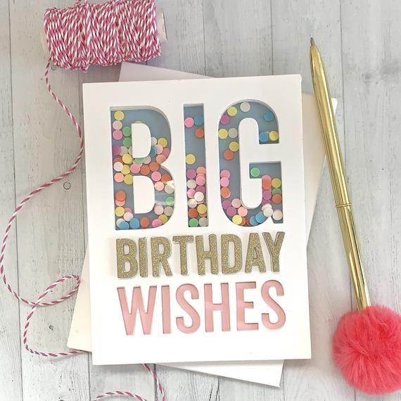 Big Birthday Wishes Interactive Shaker Birthday Card Etsy In 2021 Birthday Wishes Birthday Cards Shaker Cards