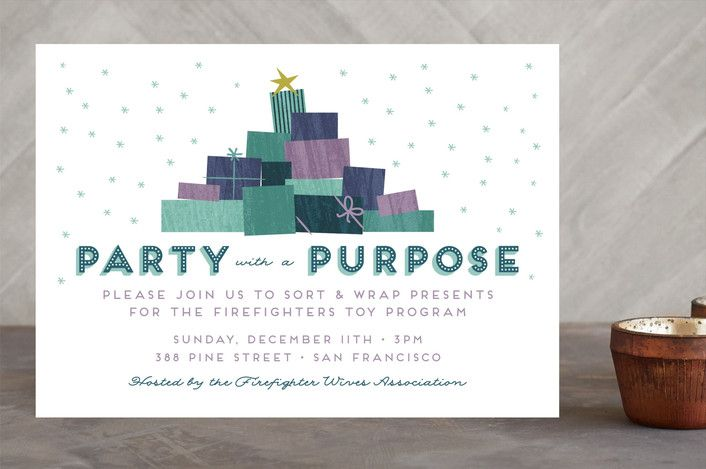 Party with a Purpose Holiday Party Invitations by ... | Minted  #minted #mintedholiday #charity #giving #party #philanthropy #cause #donate #stationery   #christmascards #christmas  #greetingcards #cards #happyholidays #merrychristmas #xmas #holidaycards#holidays #christmas #cards  #family #friends #mintedartist #bluecard #purplecard #presents #gift #nonprofit #socialgood #dogood #helpingothers #causes #charity #fundraising