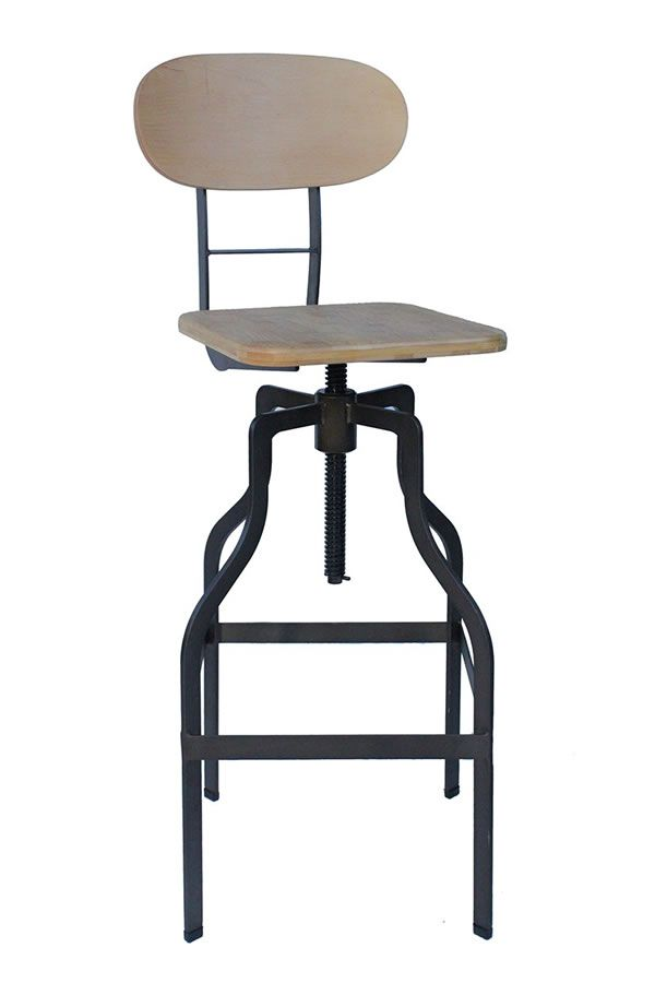 Rustic industrial kitchen bar stools fixed height for Breakfast bar stools with backs