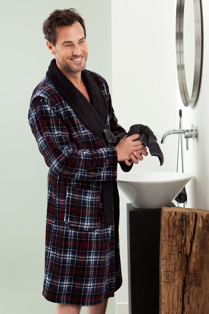 Keep your man warm & cosy this winter all wrapped up in this soft navy blue checked fleece dressing gown - he'll be glad you did!