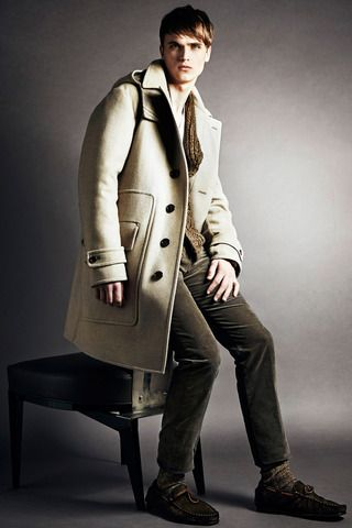 Cream Overcoat with Top Stitched Details, Tom Ford, via Style.com. Men's Fall Winter Fashion.