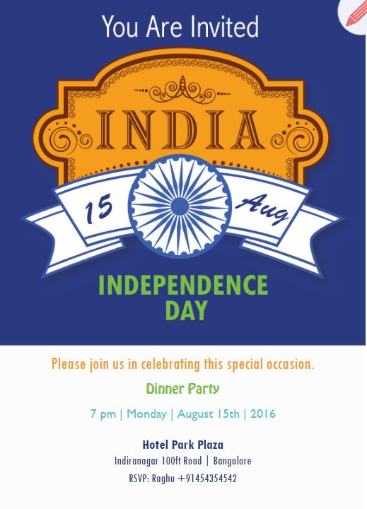 17 best indian independence day free e cards images on pinterest patriotic theme indian independence invitation stopboris Images