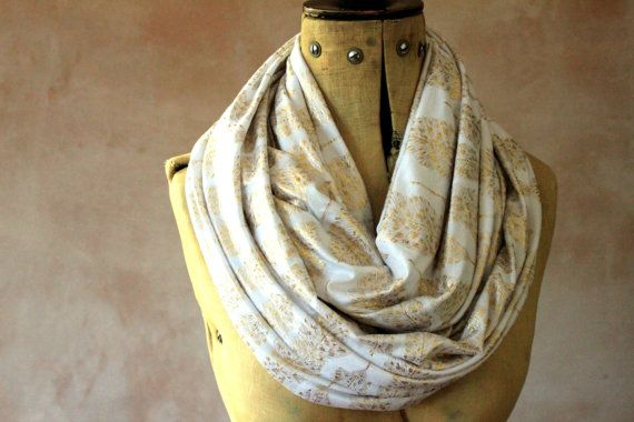 Gold Leaves  Infinity scarf Circle scarf Jersey by DreamingDays, $20.00