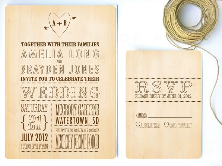 Rustic Wood Wedding Invitation Rustic Country By Twigsprintstudio