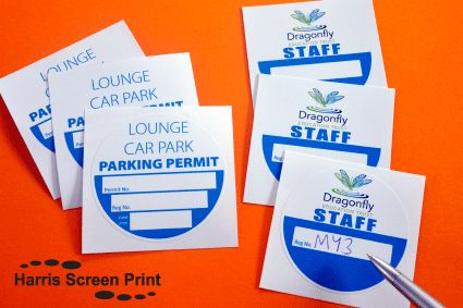 Car windscreen permit stickers printed onto white self cling vinyl doesnt leave sticky