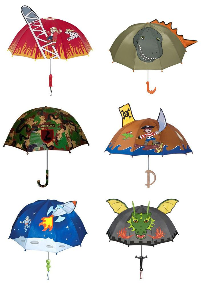 CHILDRENS UMBRELLA, FIREMAN-SPACE-PIRATE-KNIGHT-CAMOUFLAGE-DINOSAUR BY KIDORABLE