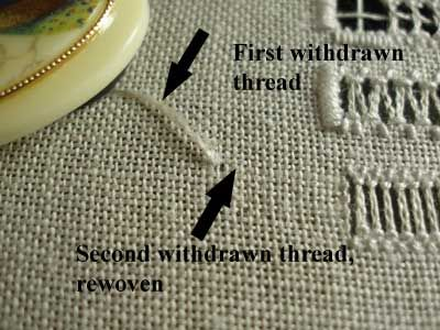 Drawn Thread Embroidery on Whitework Sampler