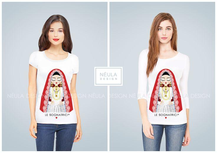 Le Sognatrici T-shirt and 3/4 sleeve - Gift Idea - Woman - Cagliari - Fashion -  Traditional dress Sardinia -  www.lesognatrici.com