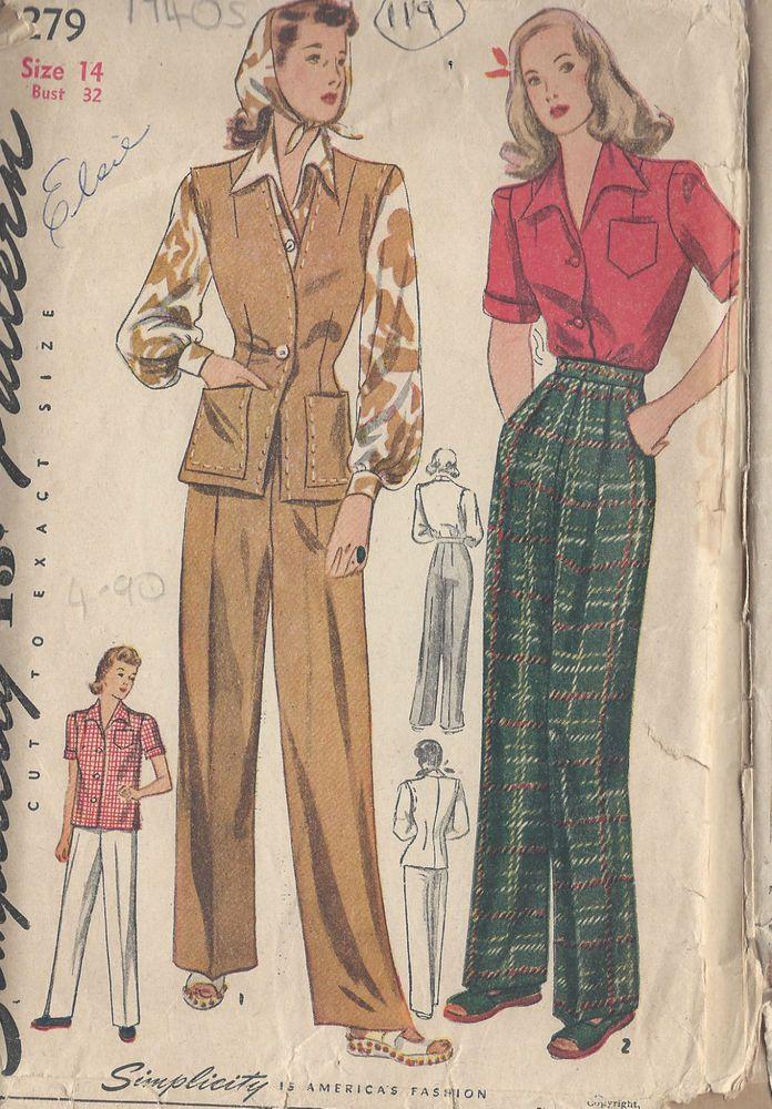 Catalogue De Modèles De Pantalons Chemisier Et Gillet De Cuir Années 1940 in Autre | eBay