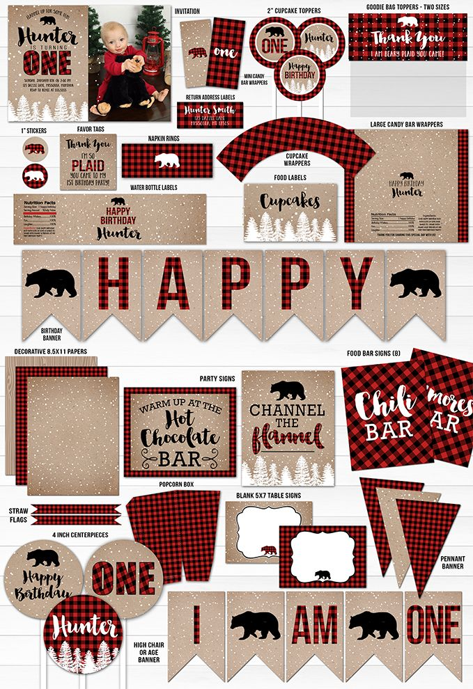 Printable Winter Plaid Complete Birthday Party Package | Winter Plaid Birthday Invitation | Snow 1st Birthday | Bear | Snowy Trees | Red and Black Buffalo Plaid | Lumberjack | Onederland | Channel the Flannel | Hot Chocolate Bar | Thank You Card | Food Labels | Banner | Candy Bar Wrappers | Chili Bar | Popcorn Bar | Cupcake Toppers | Favor Tags and more decor!