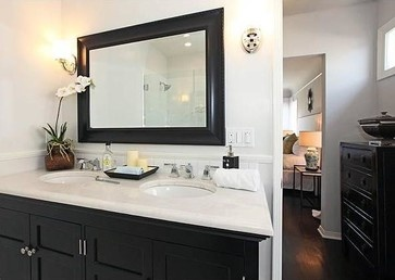 Point View Property - contemporary - master bathroom, double bowl vanity, espresso, white bathroom - los angeles - The Property Sisters