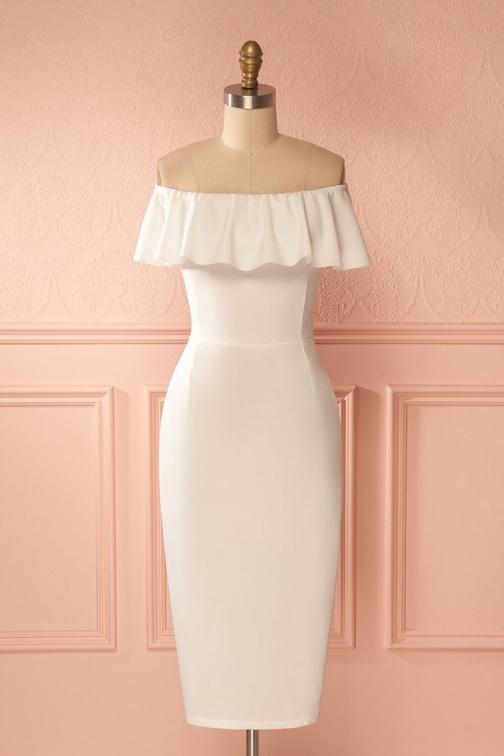Komani White Ruffled Collar Fitted Dress | Boutique 1861  For your big day, wear a glamorous and flattering dress that will look wonderful on you. The fitted cut made of slightly stretchable crepe fabric falls to your knees featuring a little slit in the back. #cocktaildress #bridal