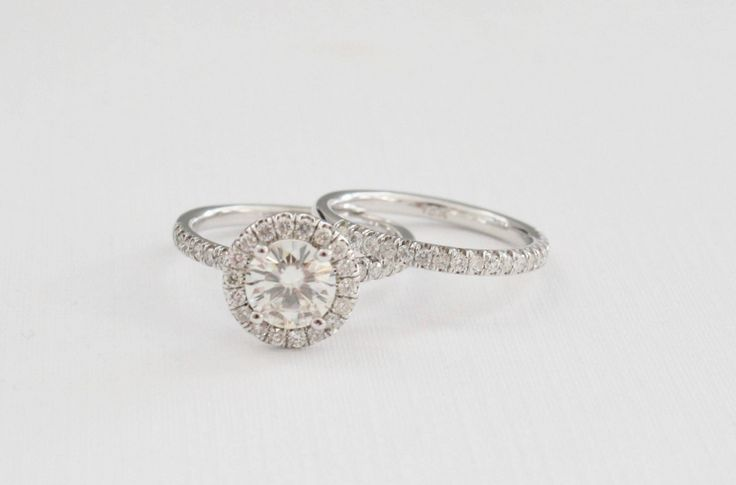 SET - 7mm Moissanite Diamond Halo Engagement Ring in 14K White Gold