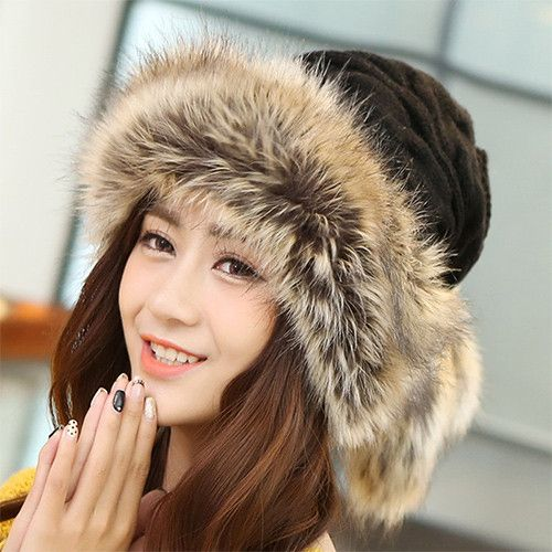 Winter Hat Women Scarves Beanies Fur Cap Warm Plus Hats For Women Baggy Knit Caps Bonnet Ski Ladies Winter Beanie Wool Hat 2016