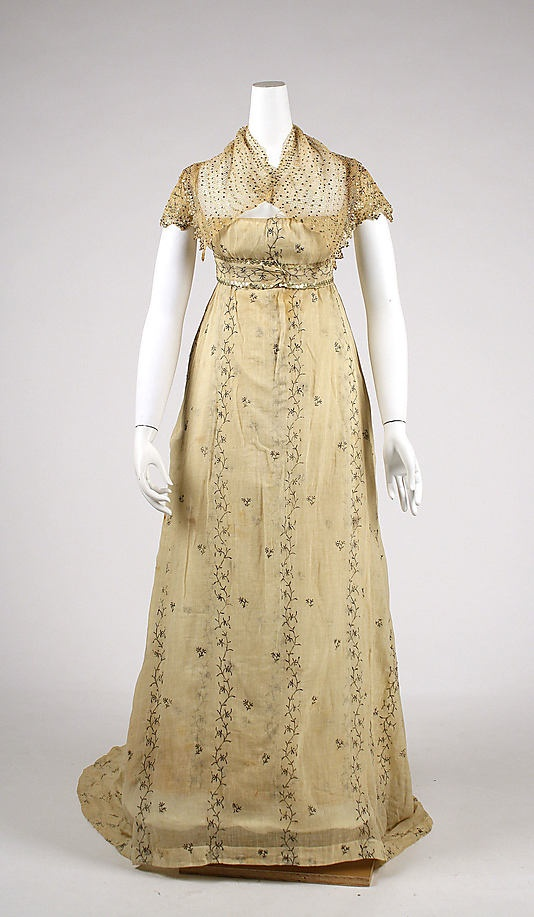 Dress 1810, French, Made of cotton (Grecian Regency)