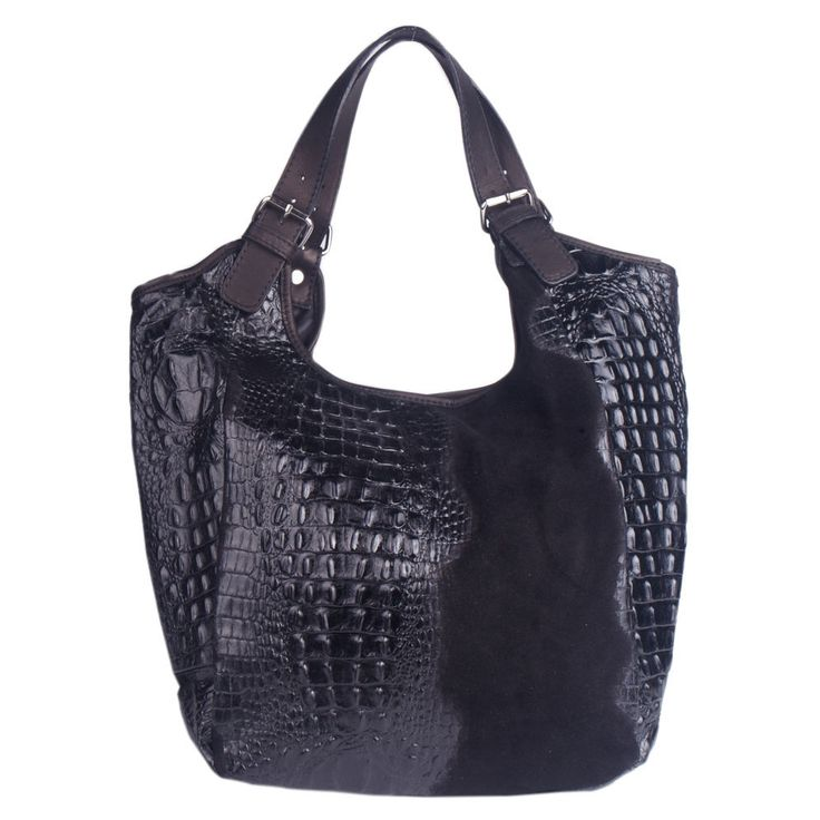 Marlafiji Mona black Croc effect Italian leather handbag