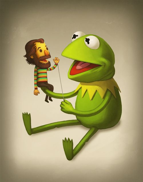 Kermit and Jim Henson. Tell me your heart didn't just melt a little. #muppets: Skin Care, Funny Illustrations, Mike Mitchell, Jim Henson, Growing Up, Kermit, The Muppets, Frogs, Hands Puppets