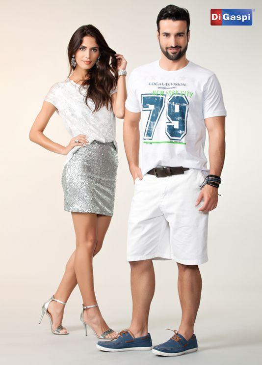 Desejos de Natal | woman | man | white t-shirt | skirt | shirt | sandalls | shoes | total white | bermuda branca | camiseta estampada | blusa feminina branca | saia prata | sandália metalizada | sapato masculino