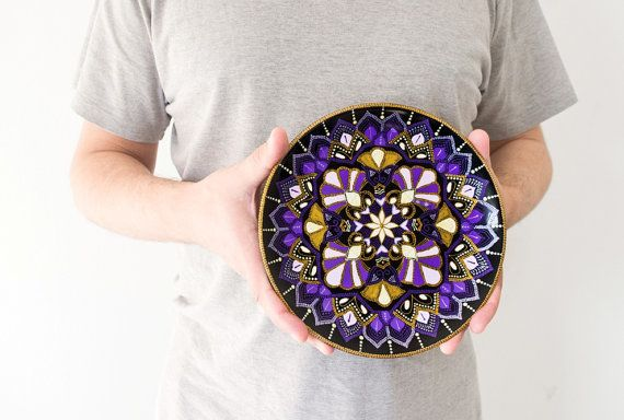 Decorative plate Violet Flower / Wedding gifts / Wall by LekaArt, $59.00