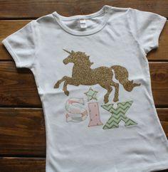 Girl Birthday Shirt, Unicorn Birthday Shirt, Birthday Shirt for Girls, Horse…