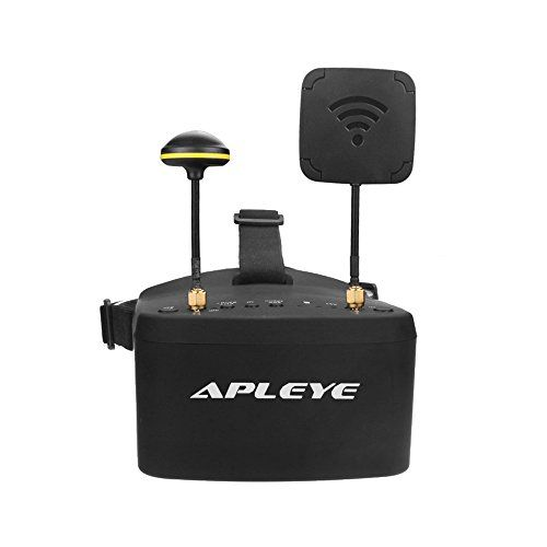 Apleye 900D FPV Goggles 5 Inch 800x480 Video Glasses Headset w/ HD DVR 5.8G 40CH Auto-Searching Diversity Receiver Build in 2000mah Battery Fpv monitor  Build In 5.8G 40CH Diversity Receiver: Super sensitiveness in 2pcs RX5808 PRO modules, great performance when two types (Linear and Omni) antennas are used.  Build In DVR: Record up to HD 720*576px full frame rate video, no frame lost (C10 card required), replay in menu.  Built-in 7.4V 2000mAh battery, each full charge offer 3.5 hours ...