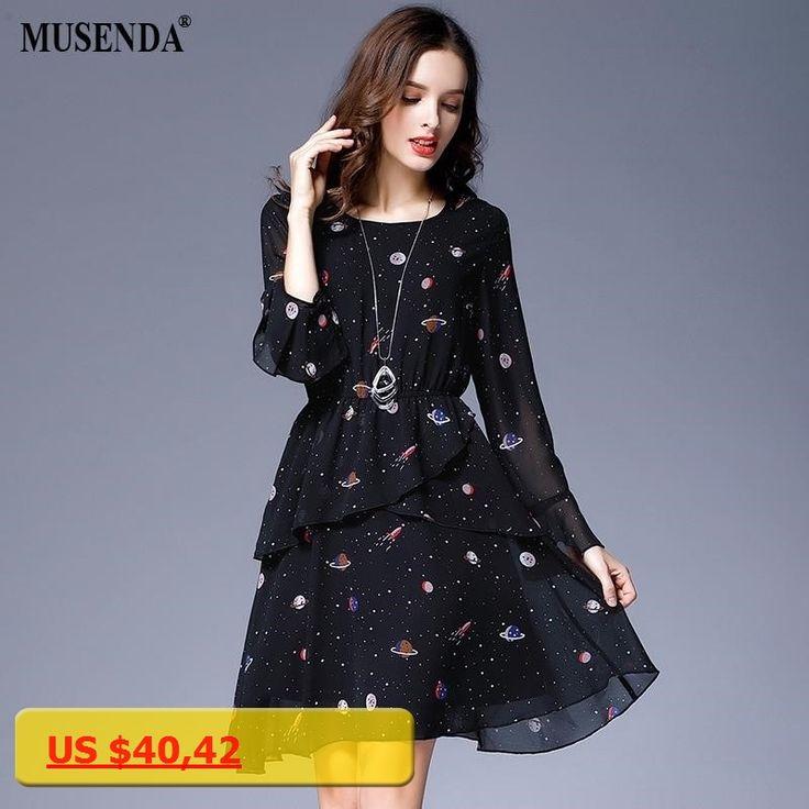 MUSENDA Plus Size Women Black Star Print Chiffon Lining Tunic Ruffles Short Dress 2017 Autumn Female Party Dresses Vestido Robe