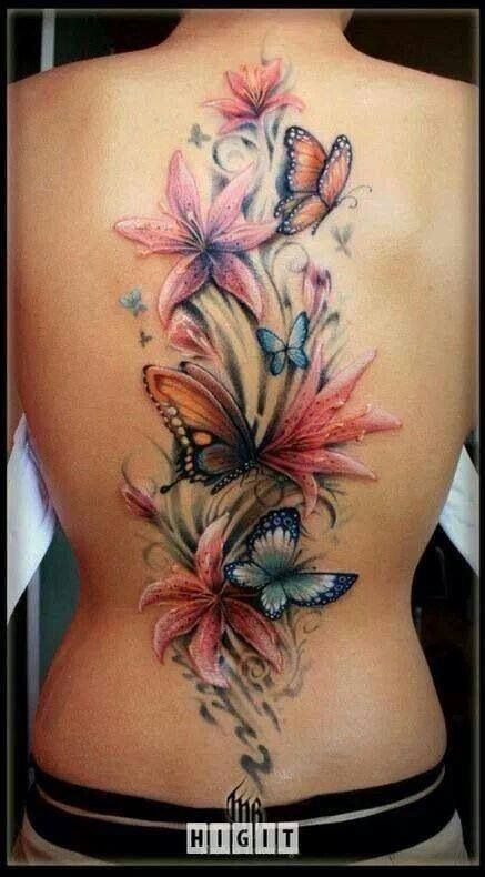 flower tattoo girls back