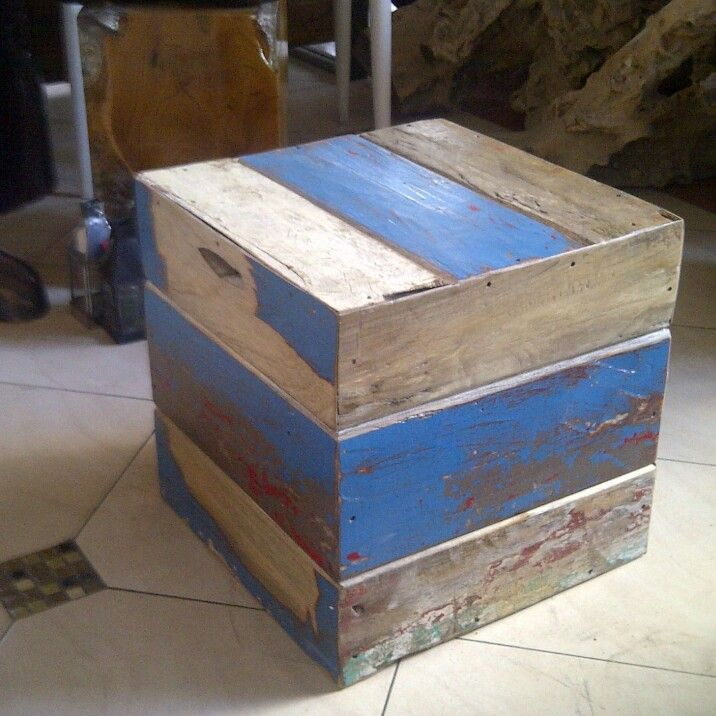 Box /stool  Material from recycle boat wood
