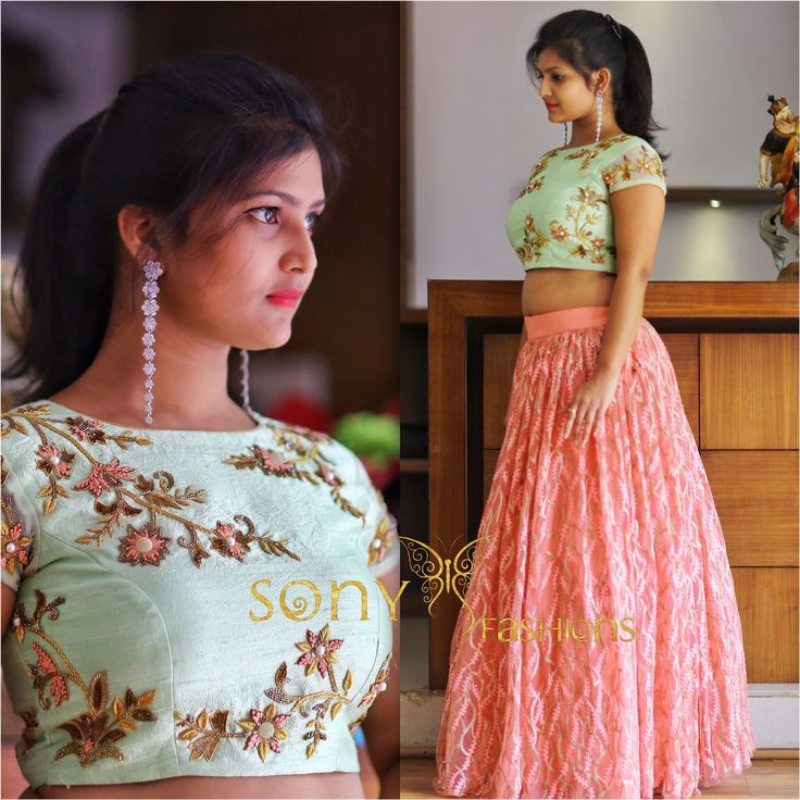 Elegance is Passion !! pastels pistagreen crop top and pink lehenga with detailed work style embroidery by Sony Reddy.For Couture Details: Call or whatsApp : 8008100885Mail at: teamsonyfashions@gmail.com 21 June 2017