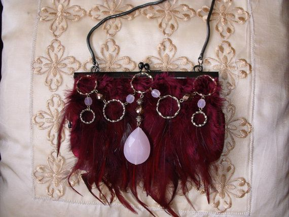 Small Deep Pink  Feather wearable art purse by IfPiratesWorePurses.