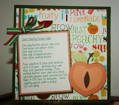 Recipe card: Recipes Cards, Cards Ideas, Recipe Cards, Diy Recipe, 6X6 Recipes, Recipes Scrapbook, Cards Crafts, Books Scrapbook, Scrapbook Recipes
