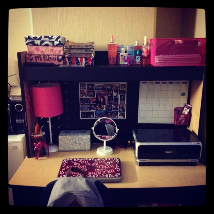 College Dorm Room Organizing: Looks Almost Exactly Like My Desk In
