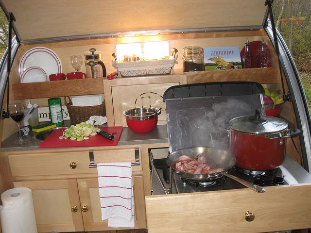 Teardrop trailer this is actually equal to the amount of for Teardrop camper kitchen ideas