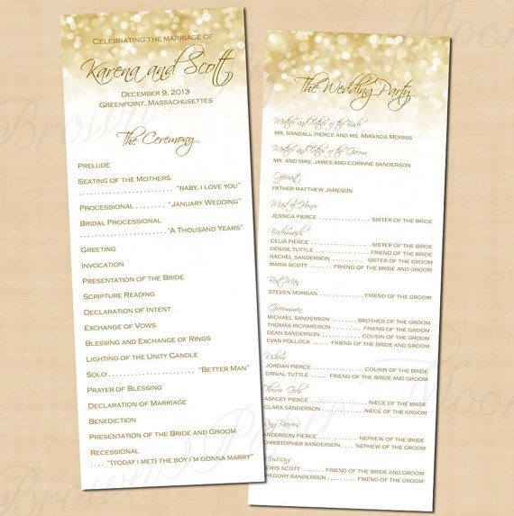 White Gold Sparkles Wedding Programs 425x11 Long Tall Portrait Text Editable In MicrosoftR Word Printable Instant Download