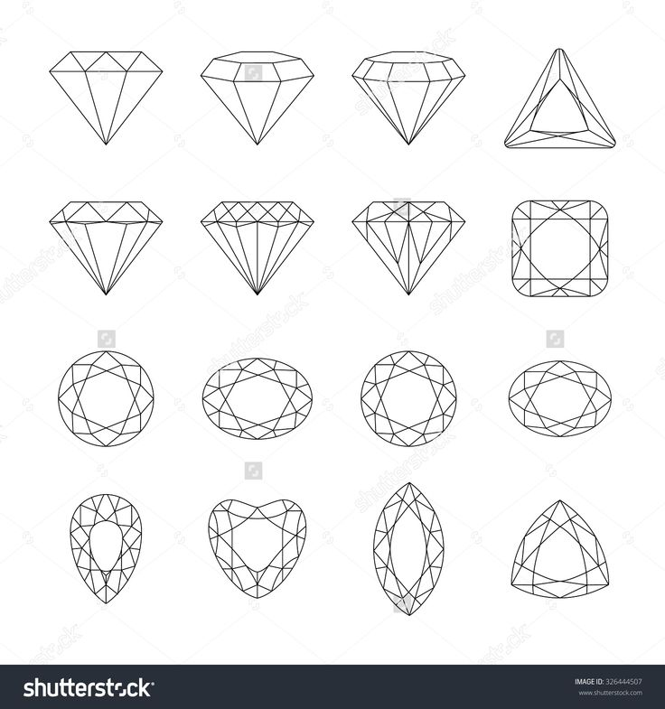 Set of isolated gem stones.Vector set of diamond design elements. Precious gem stones set of forms. © Seydoux