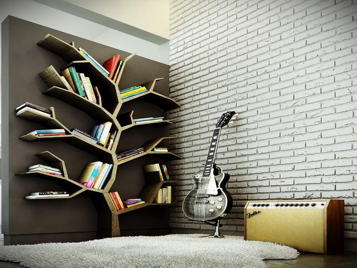 Modern tree bookshelf design for large bookshelf in the brown background combined brick wall - Modern bookshelf plans ...