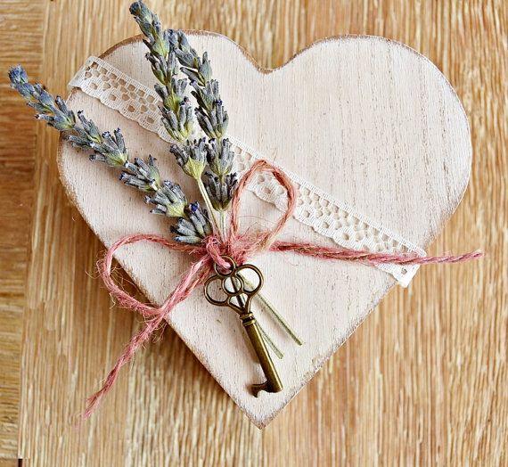 Alternative Wooden Heart Box Ring Bearer . Custom by handANAhada