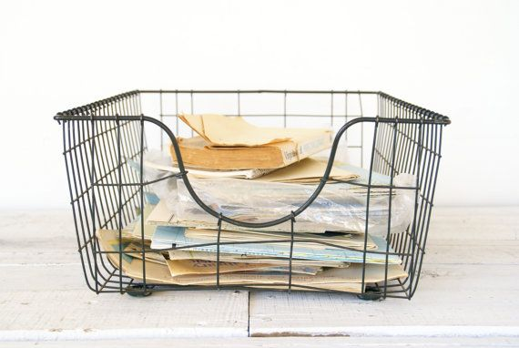 Industrial Wire Metal Basket // Office by Larch Trading Company