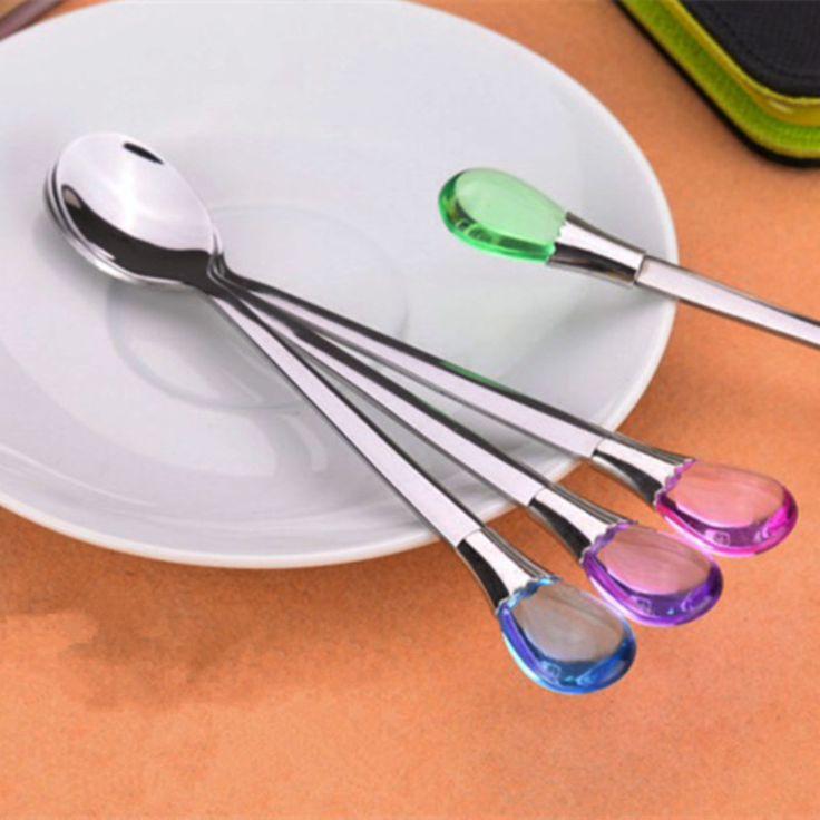 Water droplets stainless steel long-handled spoons Coffee Spoon Dinner Spoon Flatware Cutlery Set Mini Ice Cream Spoon 15*2cm