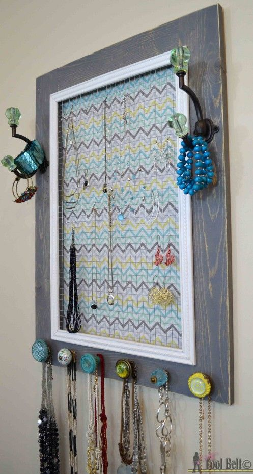 Organize jewelry by building a super cute DIY Jewelry Display Board, free plans.