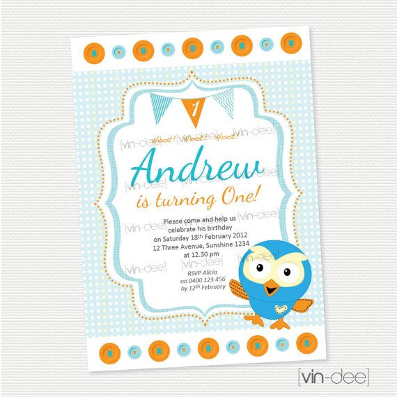 Giggle and Hoot Birthday Invitation   Hoot The Owl  DIY by vindee, $14.00