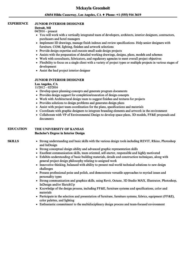 Interior design resumes samples interior design resume