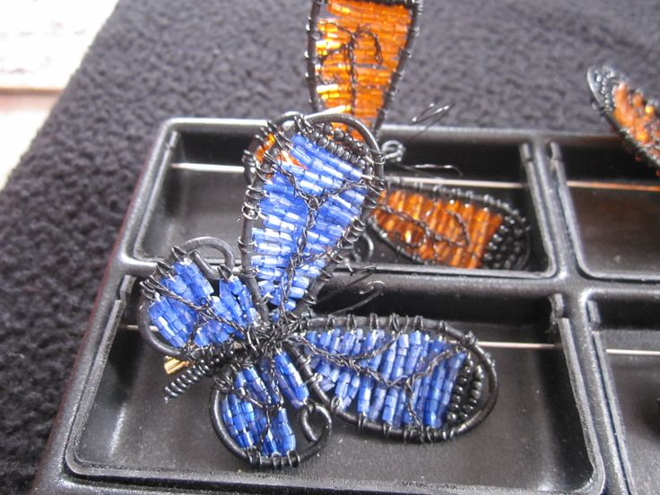 Handmade butterfly brooches.