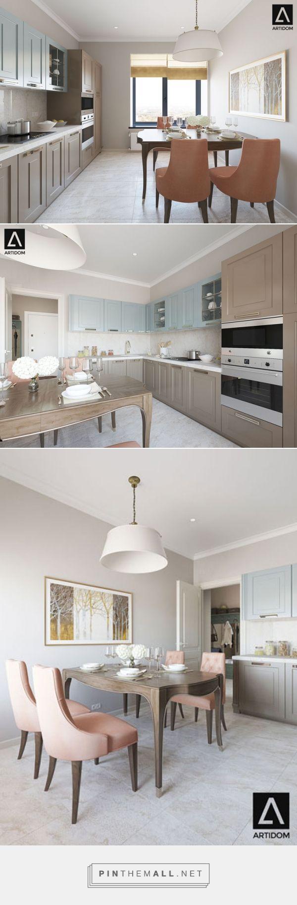 Blue beige classic kitchen. Warm neutral color palette. Orange chairs. Дизайн интерьера кухни в теплых натуральных оттенках. Голубая бежевая кухня. Обеденная зона.