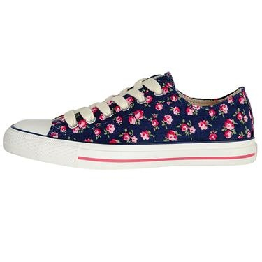 Team these pretty Little Rose plimsolls with denim to brighten up any outfit, or wear with a dress for a comfortable, casual look.